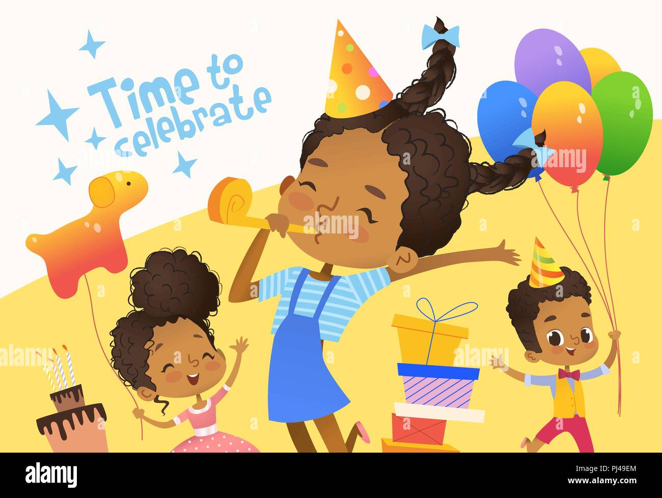 Joyous African American Kids In Birthday Hats And Balloons Happily