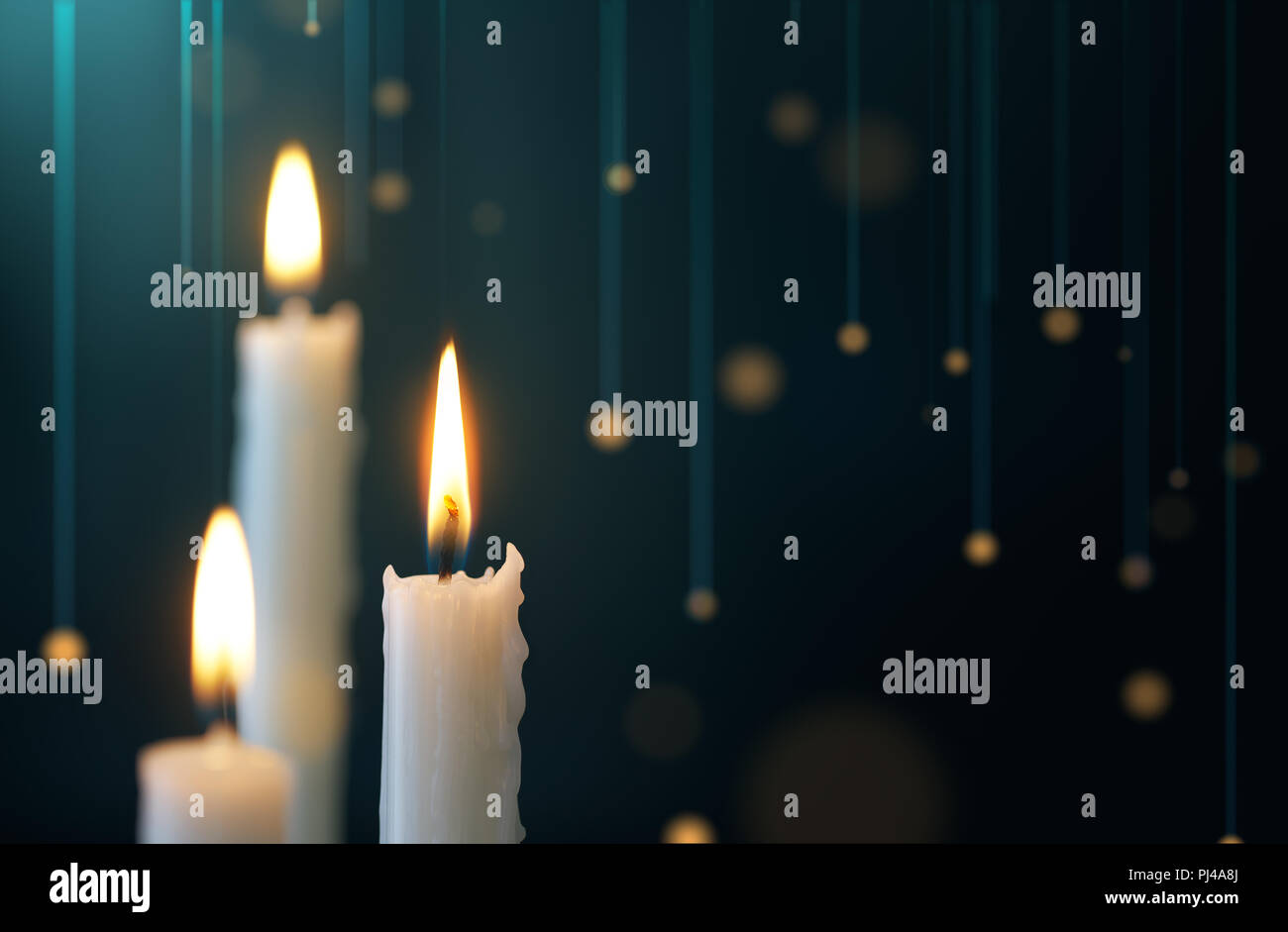 Candles with hanging lights backgorund Stock Photo