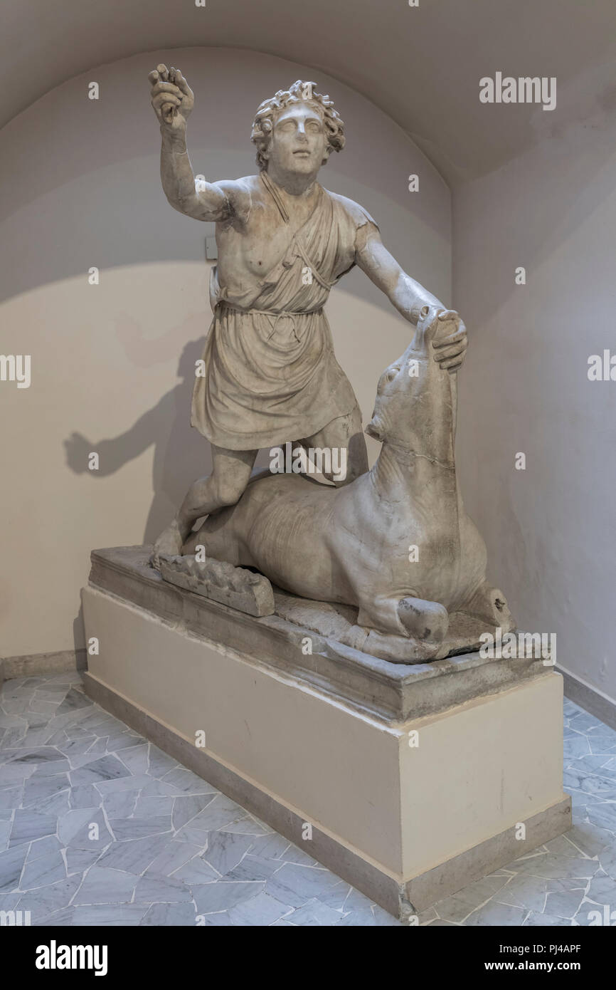 Mithras killing the bull (1st century), Roman sculpture, Archaeological museum, Ostia Antica, Lazio, Italy - Stock Image