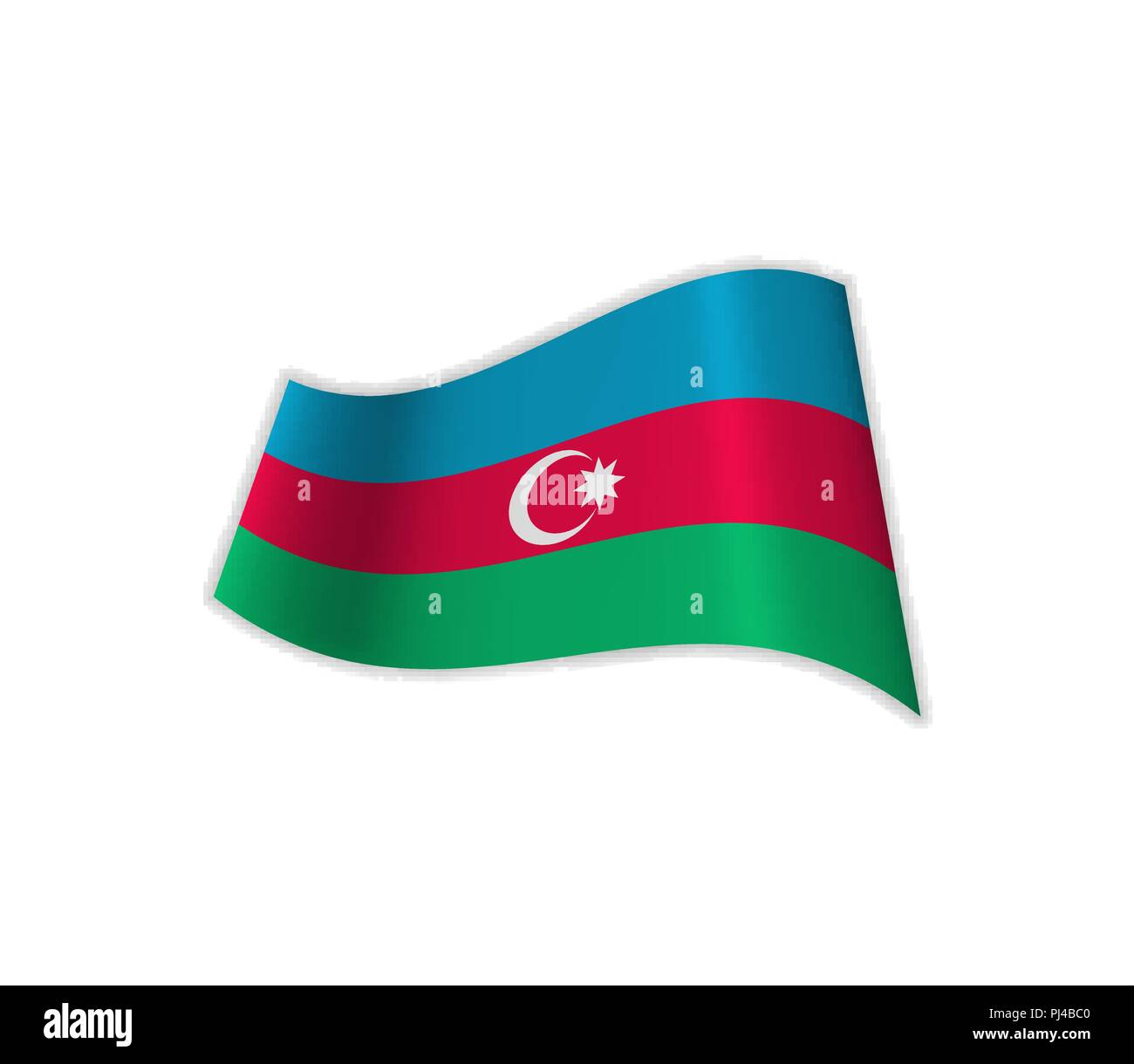 The Flag Of Azerbaijan. Vector illustration of a state. Europe. Asia. - Stock Vector