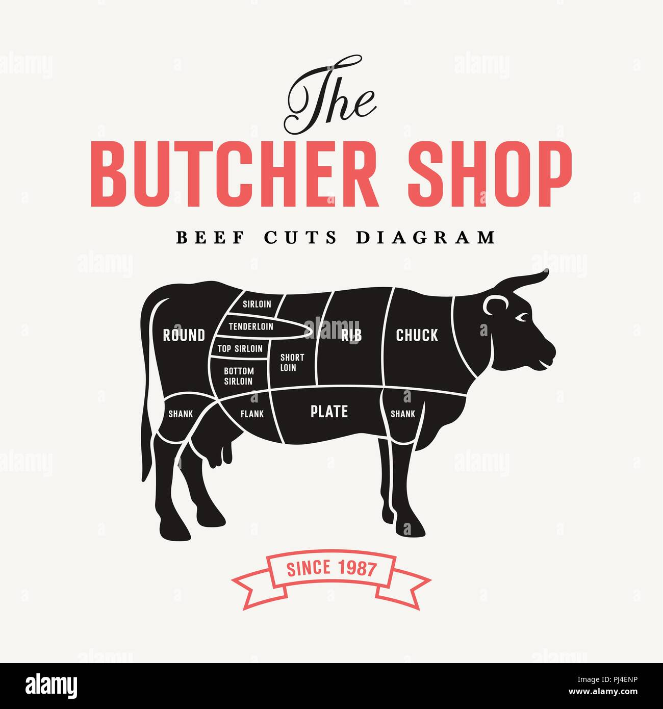 Cuts Of Beef Diagram Stock Photos Chicken Vector Illustration For Butcher Shop And Farm Market Image