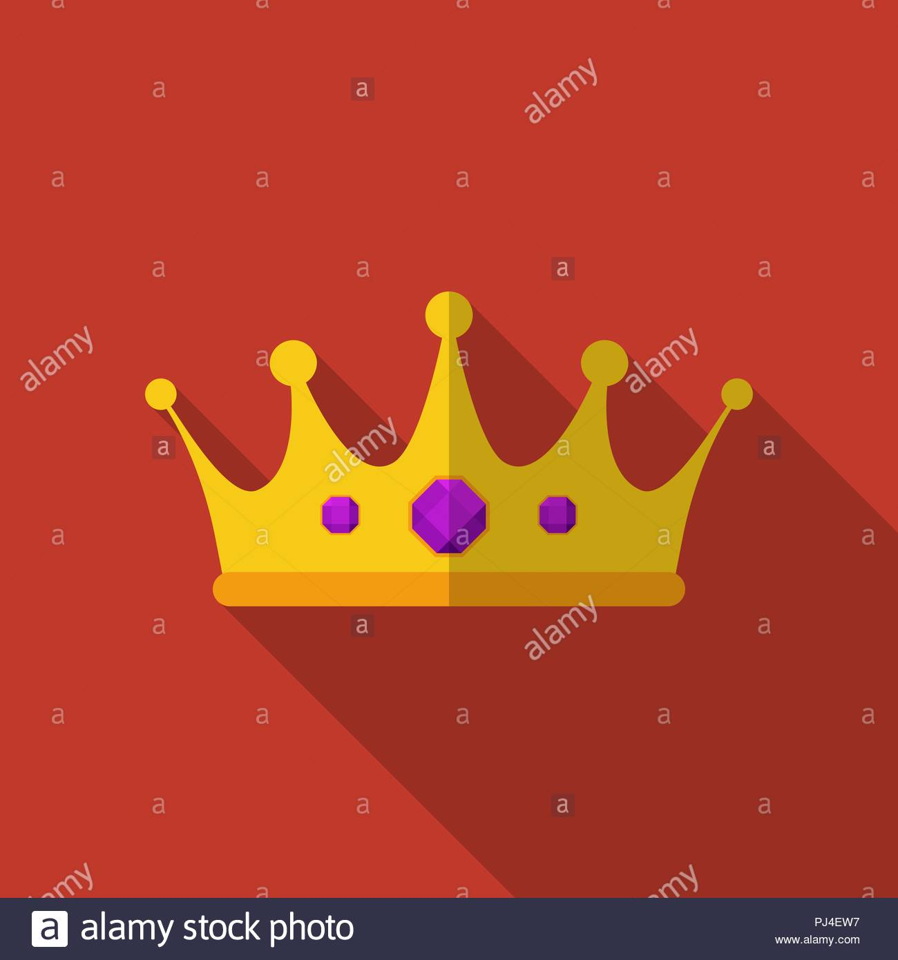 Flat crown with long shadow. Vector illustration, icon. Modern design - Stock Vector
