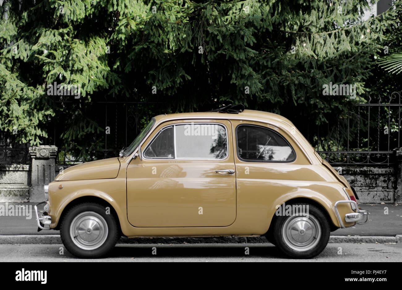 Old Yellow Italian Classic Car. - Stock Image