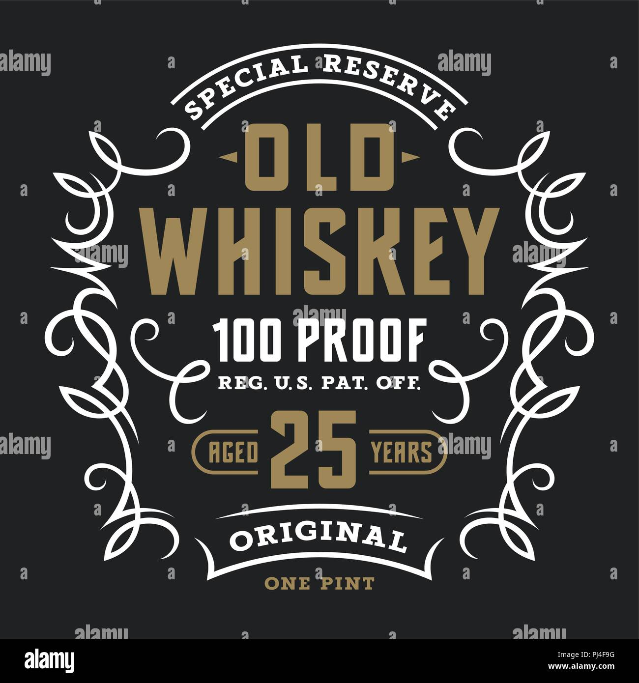 vintage whiskey label template calligraphic design elements t