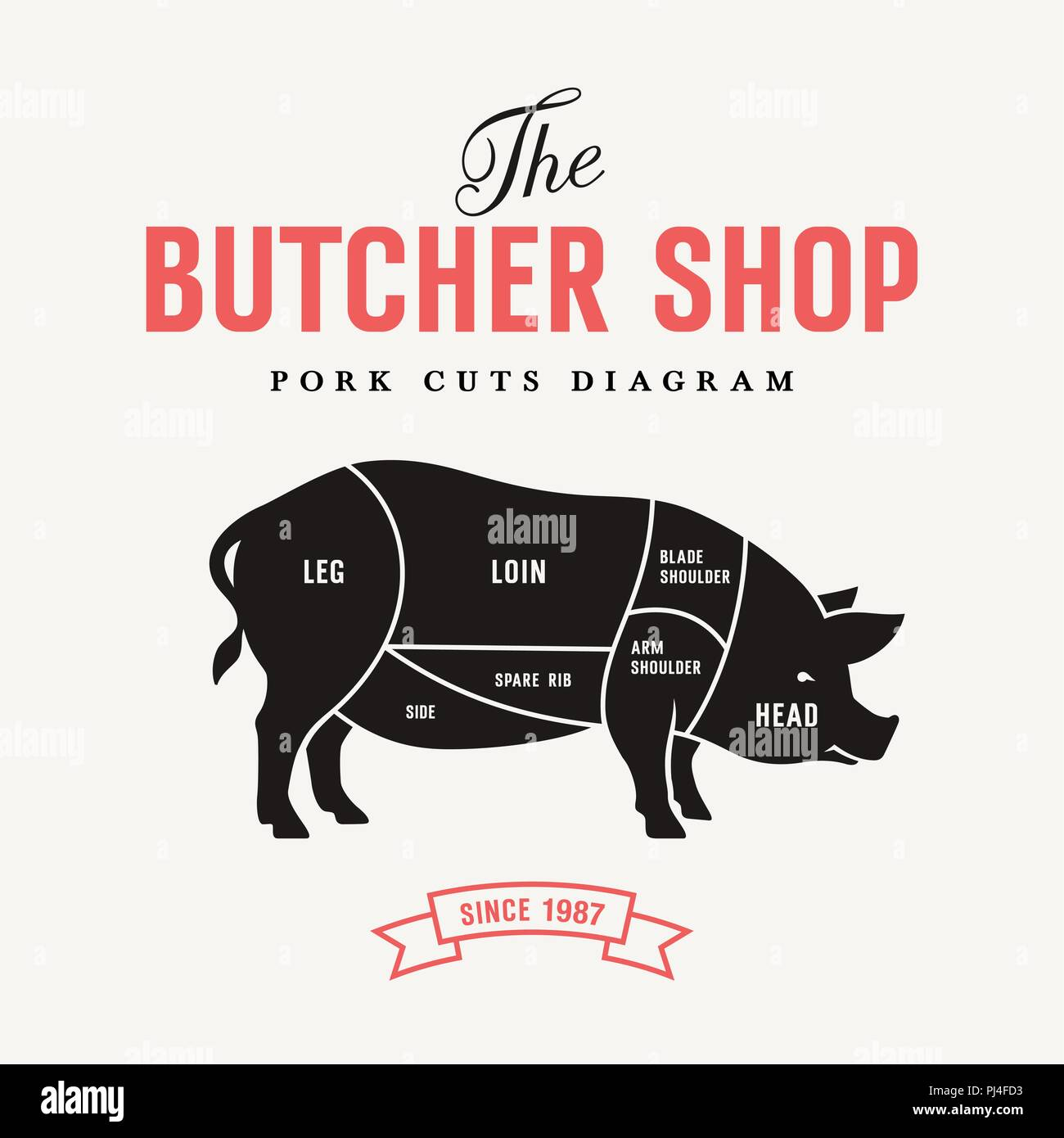 Pork cuts diagram, vector illustration for butcher shop and Farm Market - Stock Image