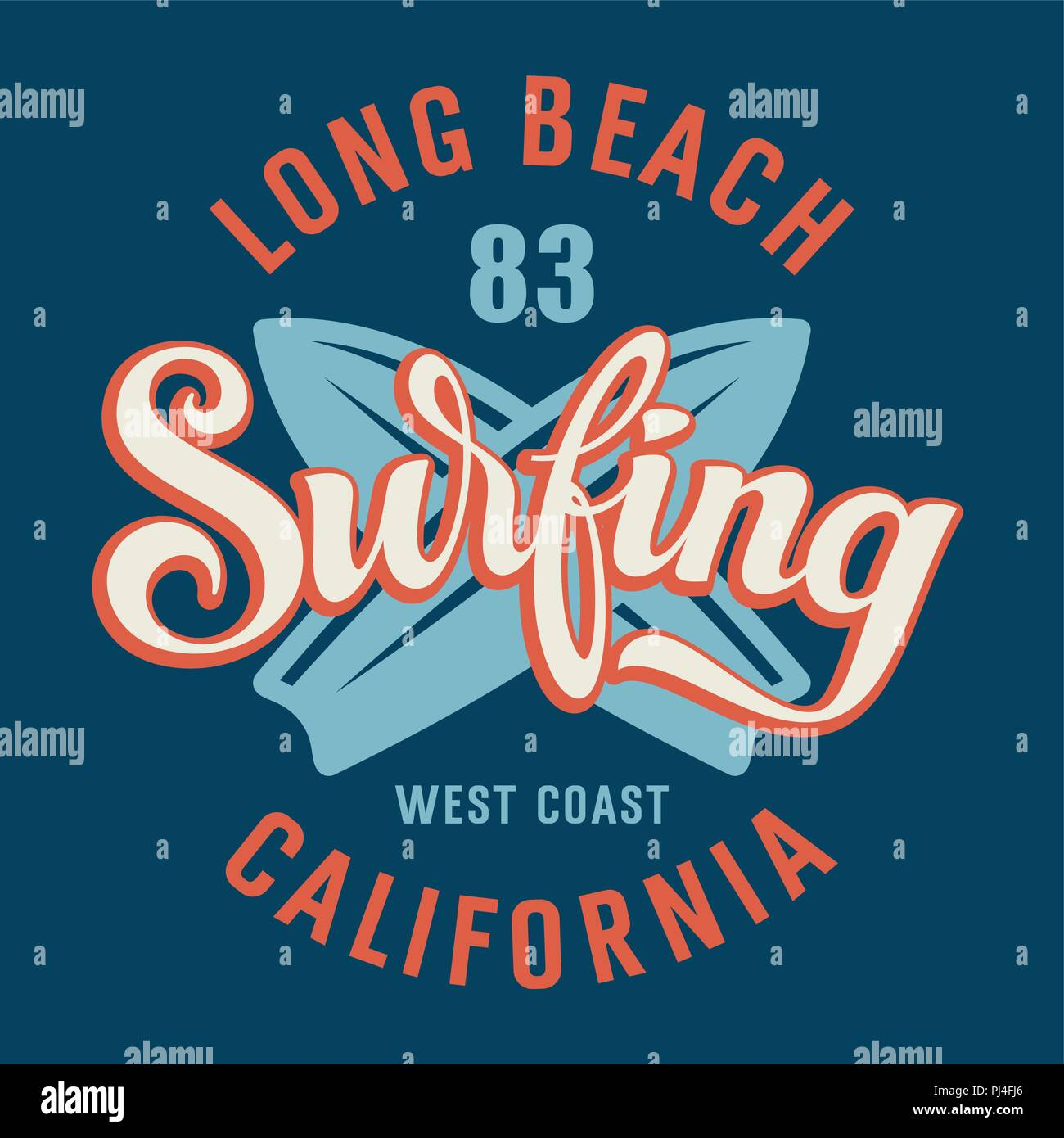 af49b9a0 Surfing artwork. California Long Beach design. Vector illustration in  vintage style for T-shirt print