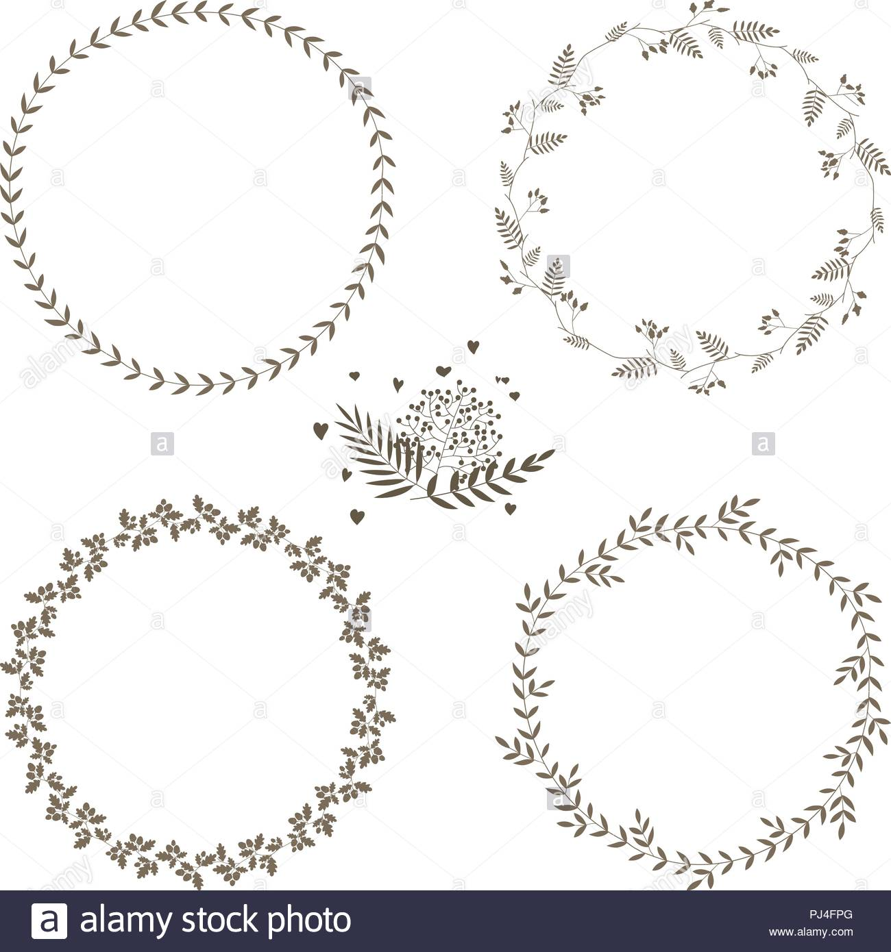 Set of 4 circle cute hand drawn frames on the white background Stock ...