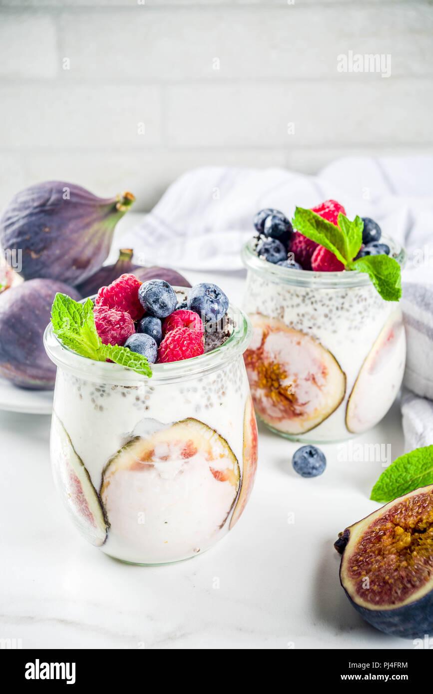 Healthy detox breakfast appetizer - yoghurt smoothie or