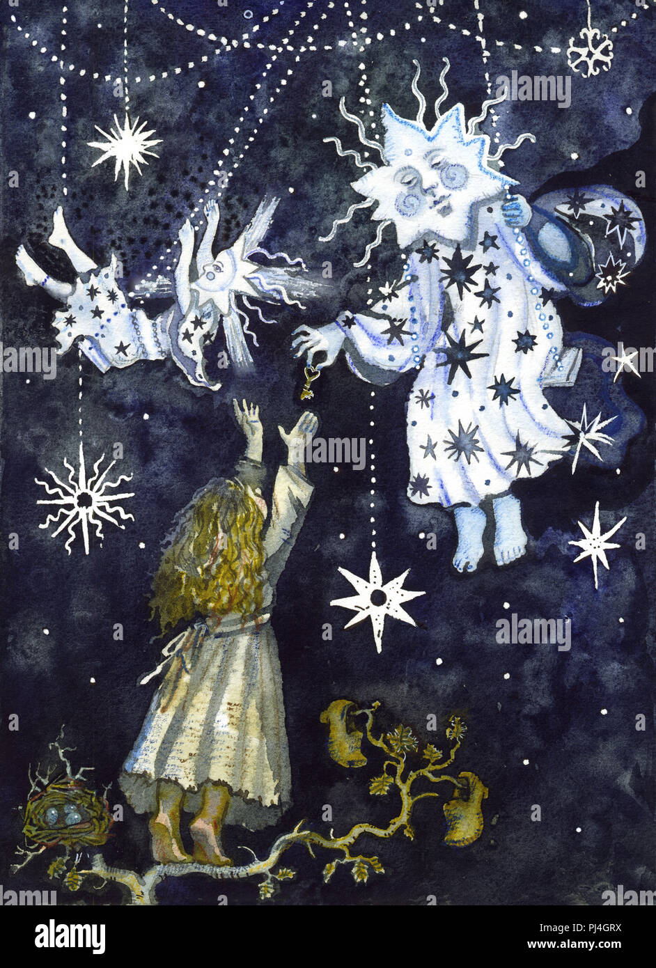 Dialogue with the stars. Little girl gets the key from the magical star creatures. Night sky background. Fairy tale fantasy illustration. For children, Christmas, New Year greeting card, board games. - Stock Image