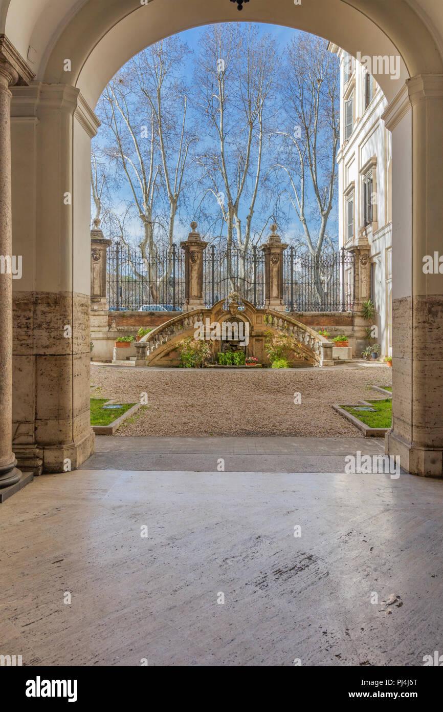 Courtyard of Academia d'Ungheria, Via Giulia, Rome, Lazio, Italy - Stock Image