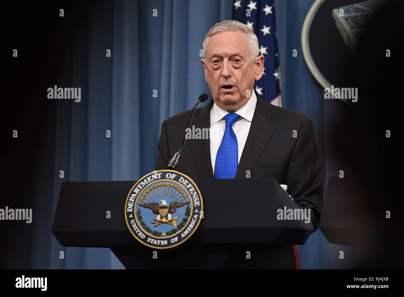 U.S. Secretary of Defense James N. Mattis speaks at a joint press conference with the chairman of the Joint Chiefs of Staff, Marine Corps Gen. Joseph F. Dunford, the Pentagon, Arlington, Va., Aug. 28, 2018. DoD photo by Lisa Ferdinando Stock Photo