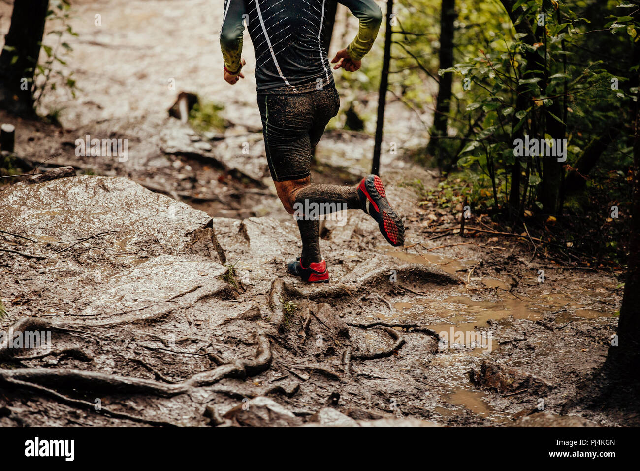 93d5af42b28bd dirty feet runner in compression socks running on trail in woods - Stock  Image