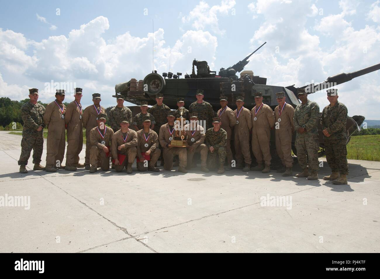 Lt. Gen. Brian D. Beaudreault, the deputy commandant of plans, policies, and operations, poses for a photo with the crews from 1st, 2nd, and 4th Tank Battalion after the awards ceremony at the 15th annual Tiger Competition awards ceremony at Wilcox Range, Fort Knox, Ky., Aug. 28, 2018. (U.S Marine Corps photo by Cpl. Dante J. Fries) Stock Photo