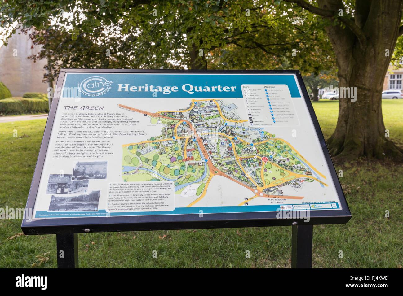 Heritage Quarter Interpretation board on The Green, Calne, Wiltshire, England - Stock Image
