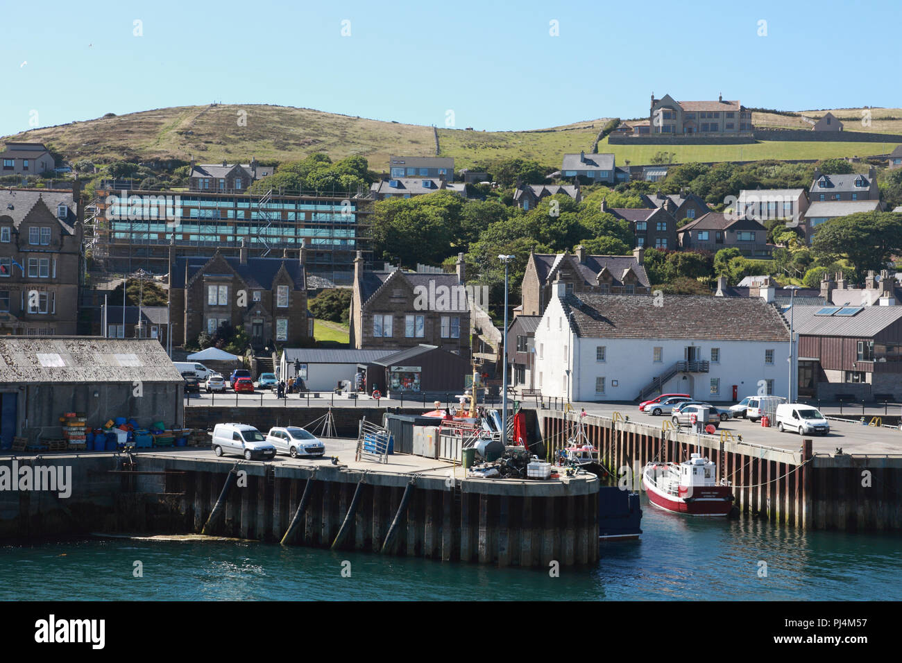 Part of the harbour and town of Stromness in the Orkney Islands - Stock Image