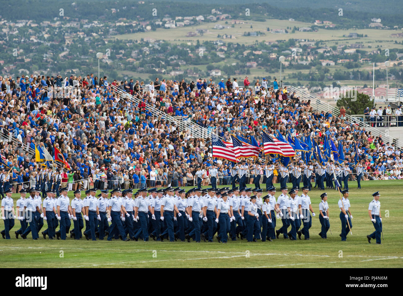 U.S. AIR FORCE ACADEMY, Colo. -- U.S. Air Force Academy -- Air Force Academy Cadets participate in in a parents weekend parade at Stillman Field Aug. 31    (U.S. Air Force photo/Joshua Armstrong) Stock Photo