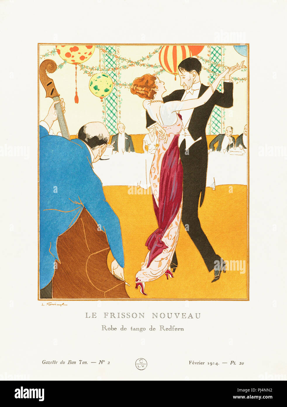 Le Frisson Nouveau.  A New Thrill.  Robe de tango de Redfern.  Tango dress by Redfern.  Art-deco fashion illustration by Czech artist Ludvik Strimpl,1880-1937.  The work was created for the Gazette du Bon Ton, a Parisian fashion magazine published between 1912-1915 and 1919-1925. - Stock Image