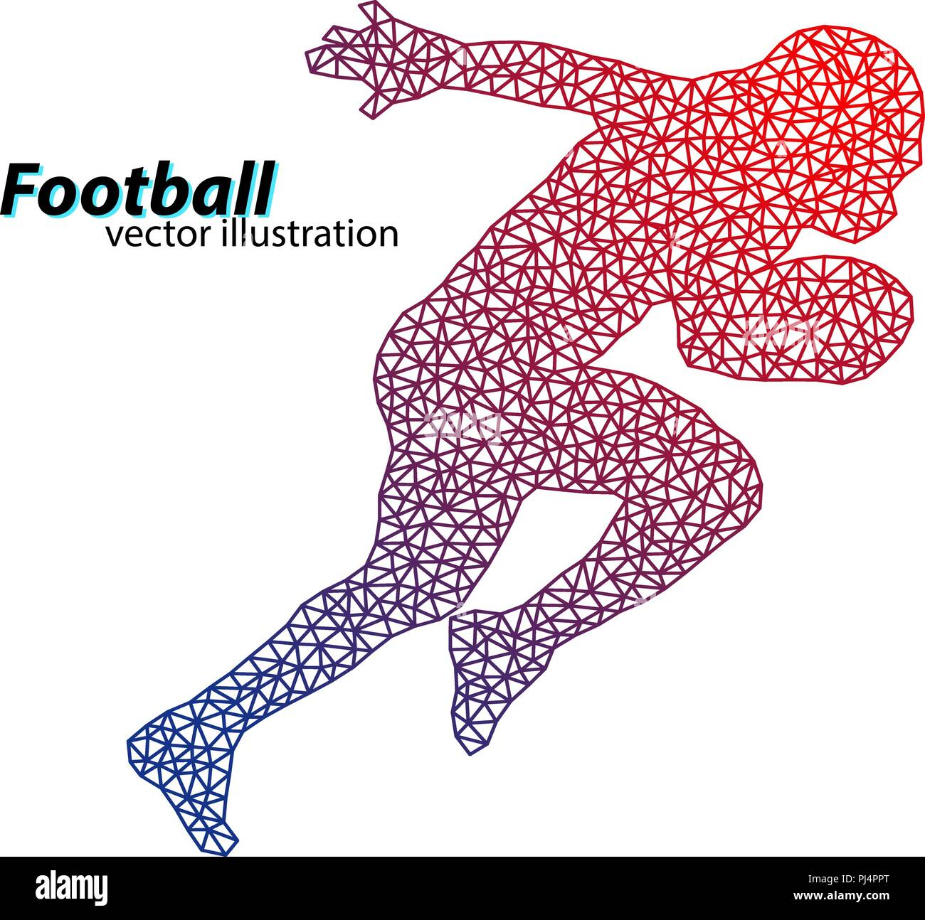 silhouette of a football player from triangle. Background and text on a separate layer, color can be changed in one click. Rugby. American football - Stock Image