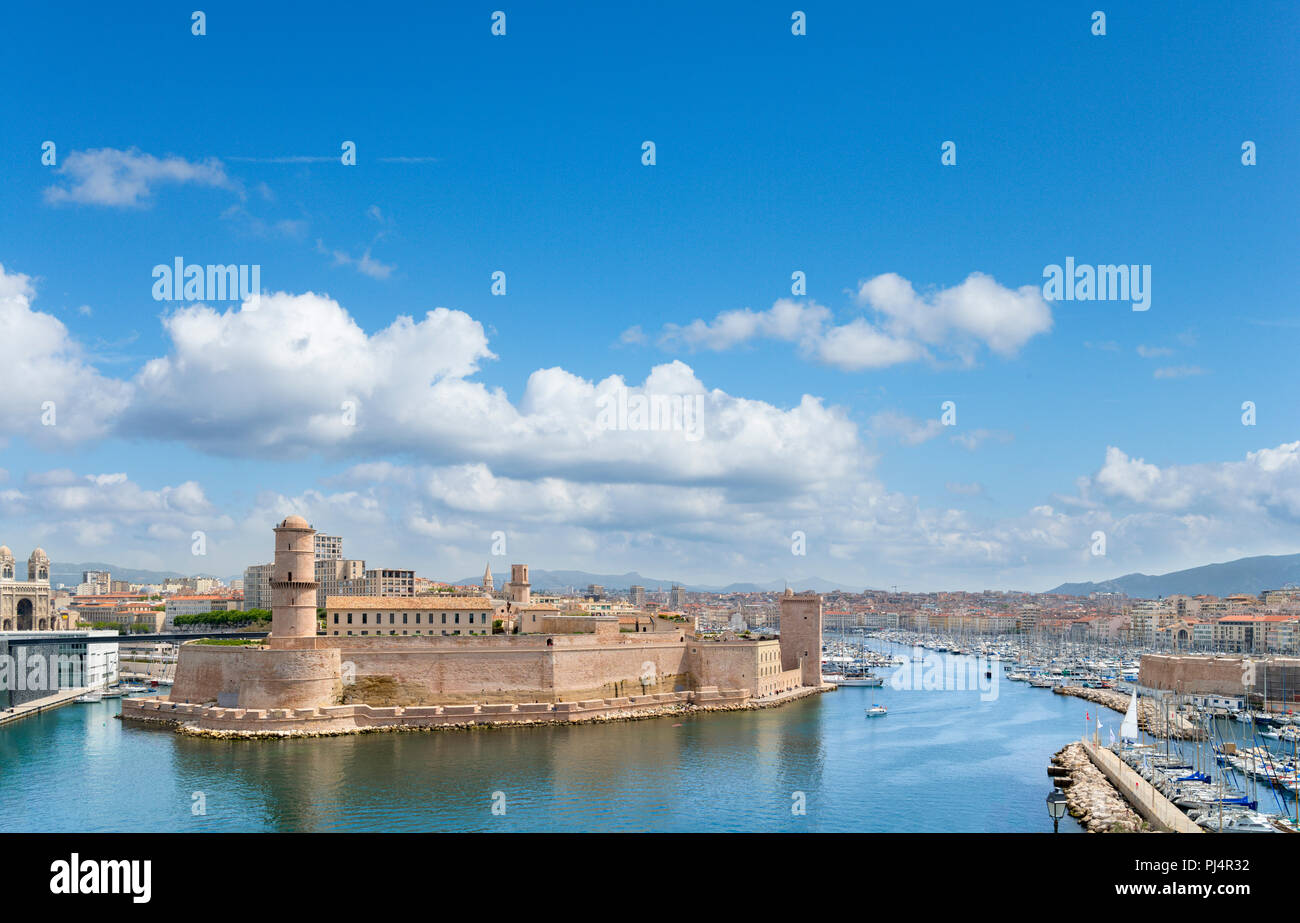 View over the old port and Fort Saint-Jean from the Palais du Pharo, Marseille, Provence-Alpes-Côte d'Azur, France - Stock Image