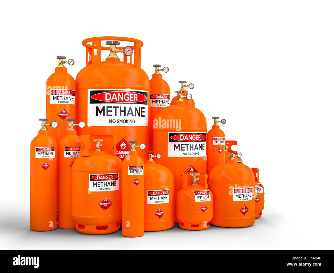 different methane cylinder container 3d rendering image - Stock Image