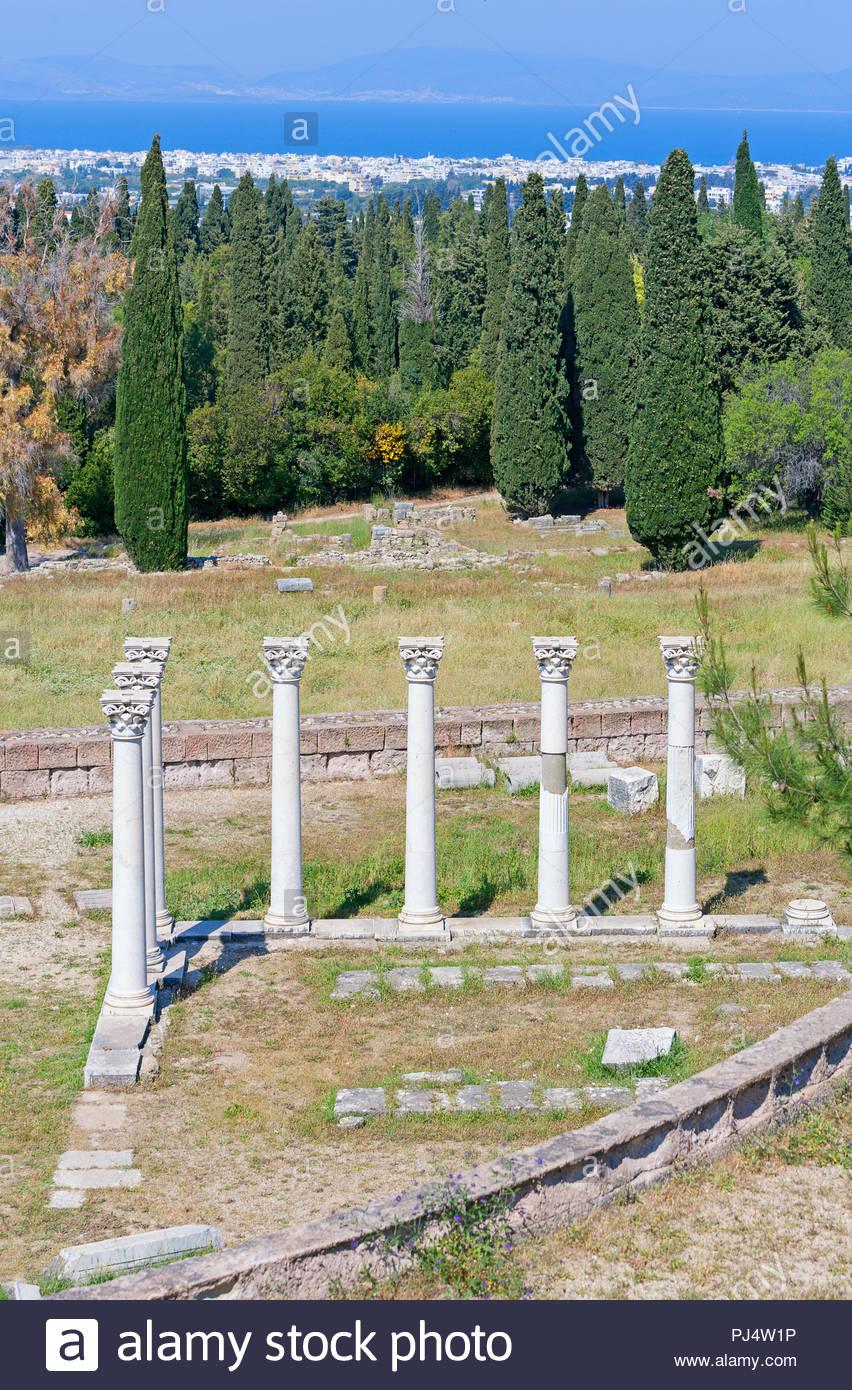 Columns of Temple of Apollo, Asklepion, Kos, Dodecanese Islands, Greece - Stock Image
