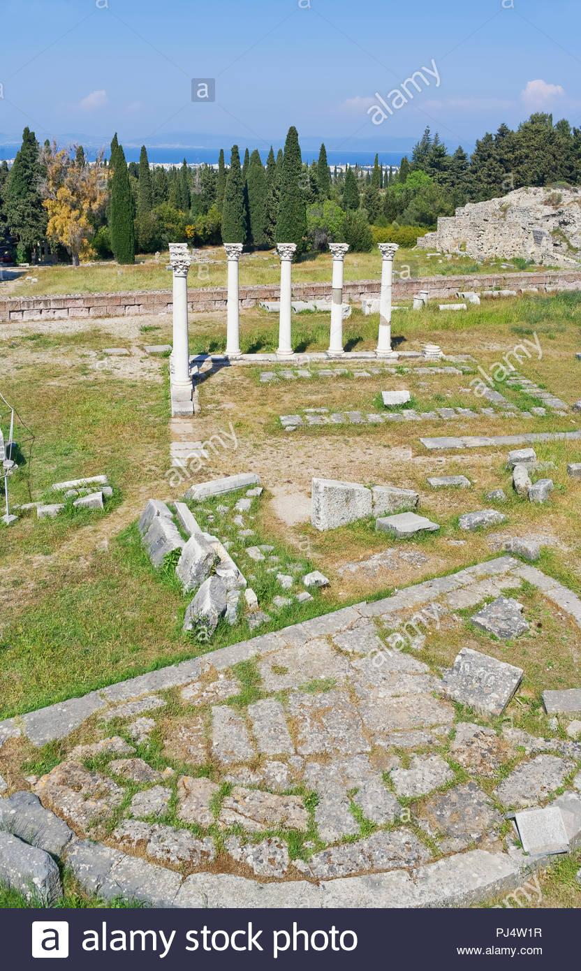 Temple of Apollo,The Asklepienon, Asclepion, Kos, Dodecanese Islands, Greece, Europe - Stock Image