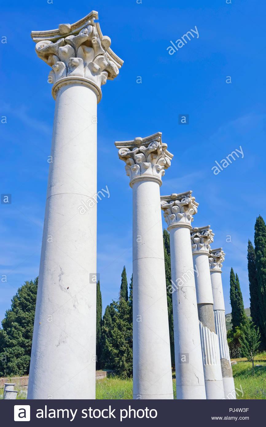 Columns, Temple of Apollo, The Asklepienon, Kos, Dodecanese Islands, Greece, Europe - Stock Image
