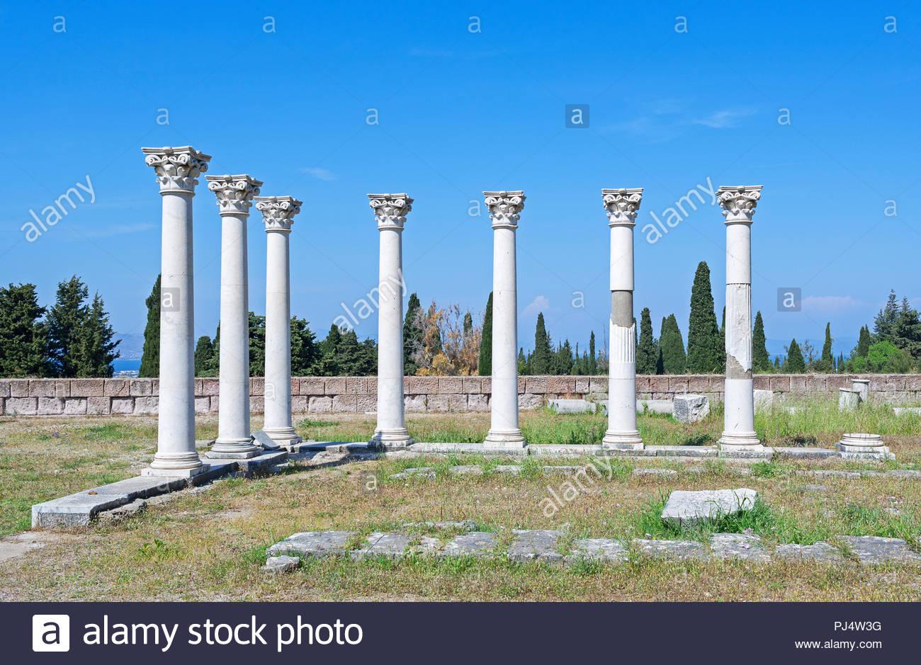 Temple of Apollo, The Asklepienon, Asclepion, Kos, Dodecanese Islands, Greece, Europe - Stock Image