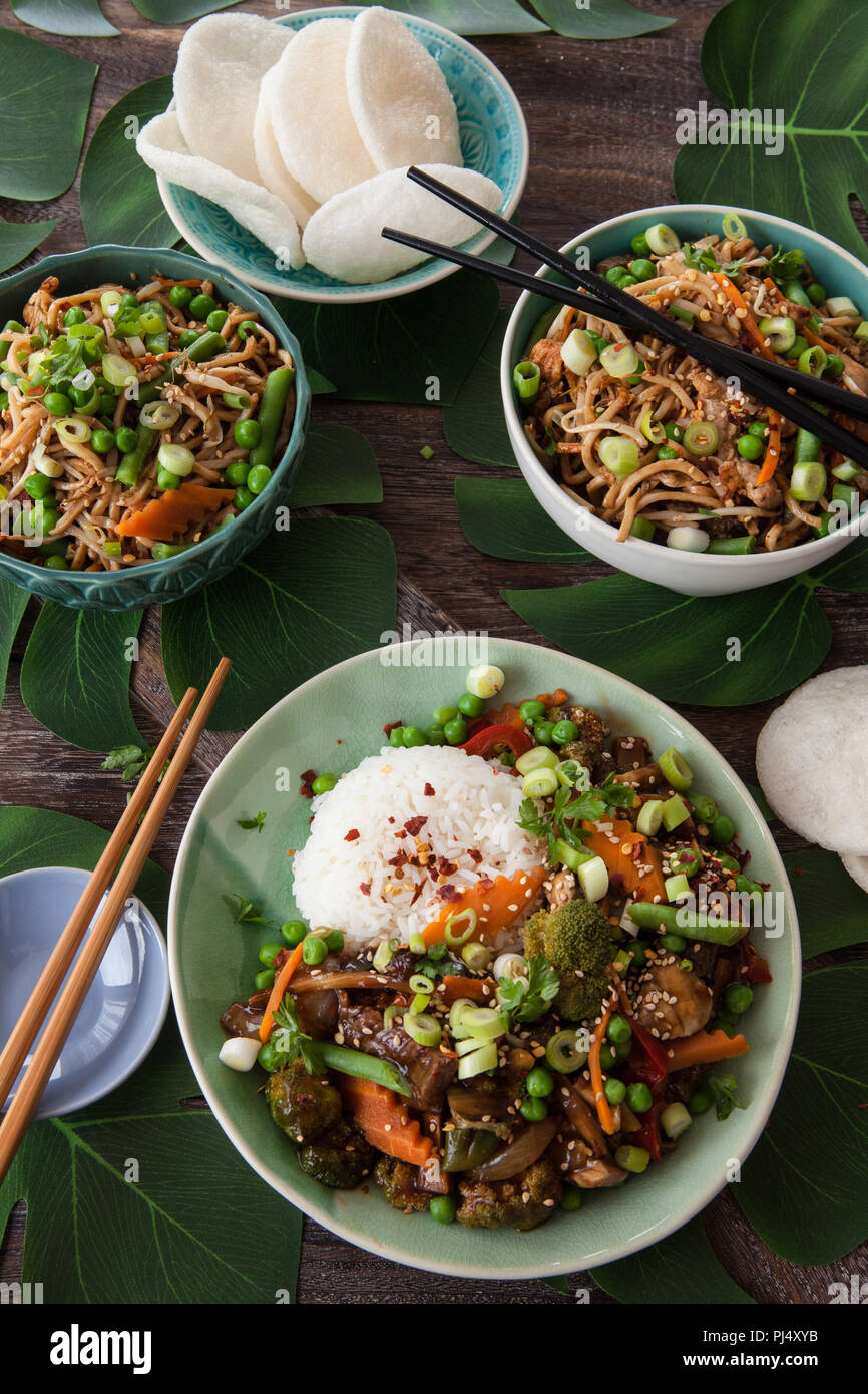 Chinese food with beef, rice and veggies - Stock Image