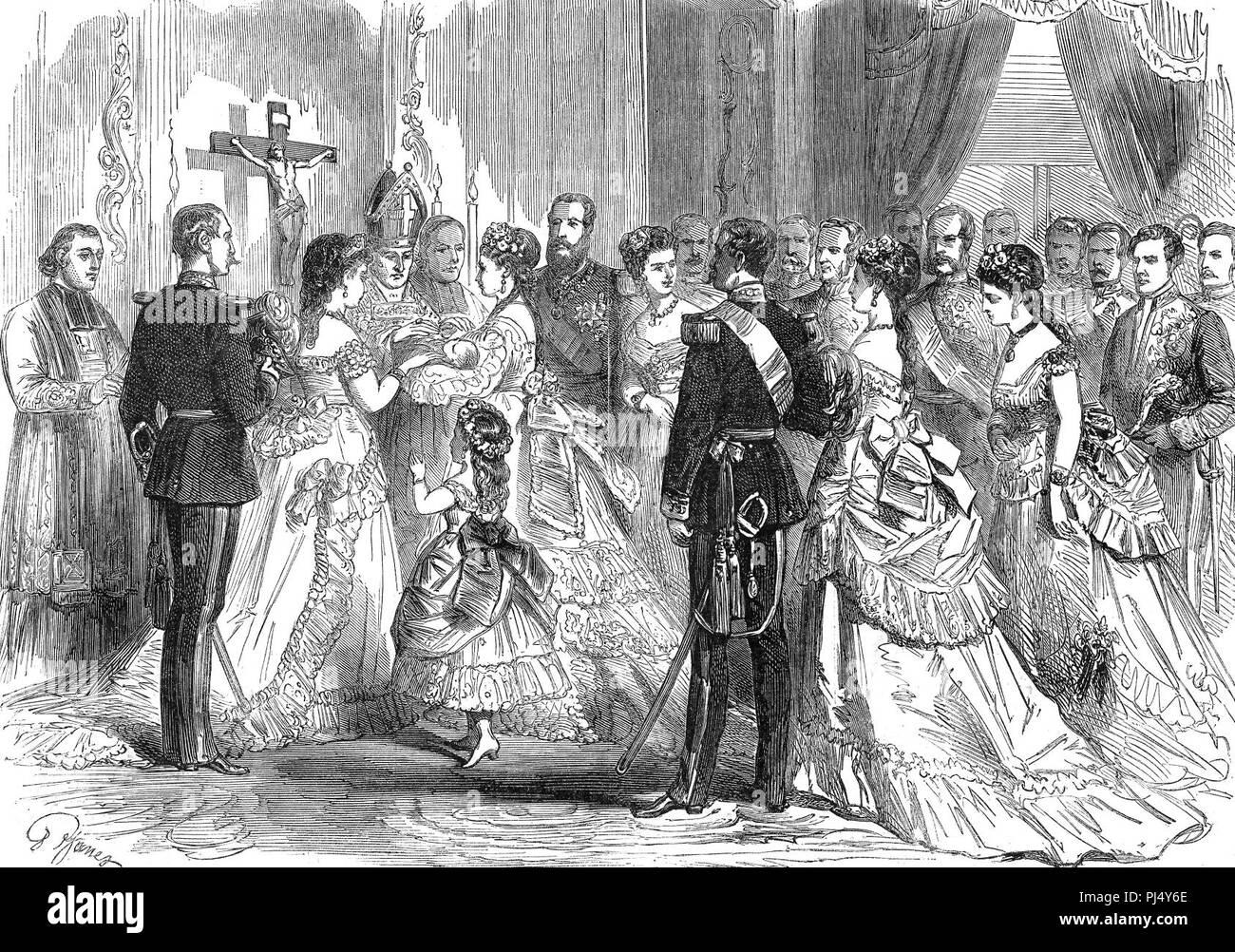 Baptême du prince Baudouin de Belgique le 26 juin 1869 - Janet. Stock Photo