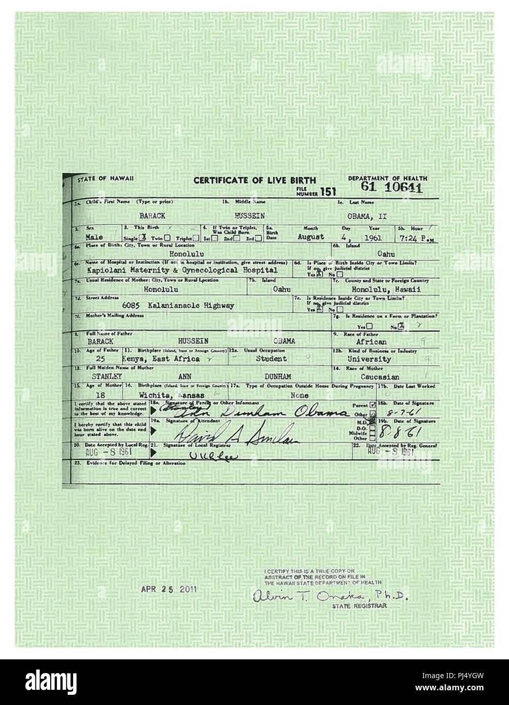 Barack Obama Long Form Certificate Of Live Birth Stock Photo