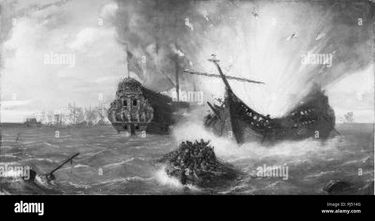 Barend Wijnveld - Anno 1677. Roemer Vlacq laat zich in de baai van Tobago in de lucht vliegen - Stock Photo