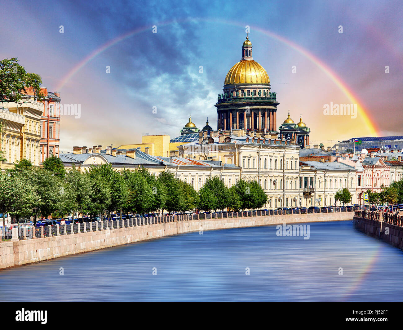 Saint Isaac Cathedral across Moyka river, St Petersburg, Russia - Stock Image