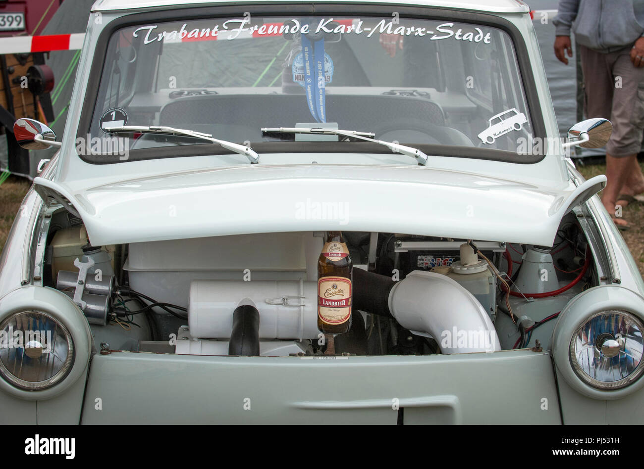 A Trabant with engine on show at the Zwickau Trabant Club annual rally. Stock Photo