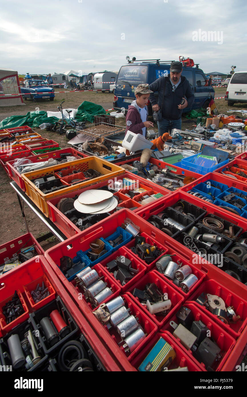 Spare Trabant parts for sale at an East German Trabant Rally in Zwickau, Saxony, Germany. Stock Photo