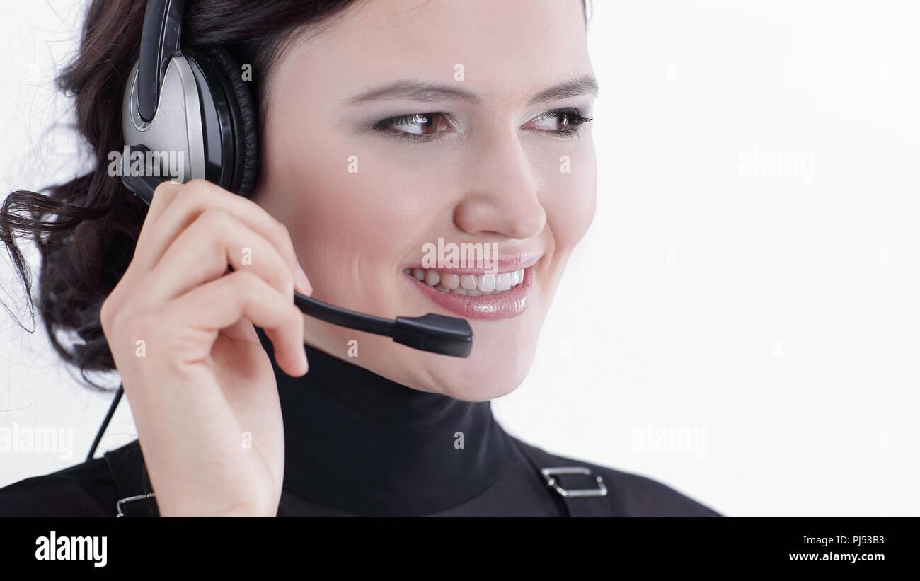 closeup.portrait of an employee call center Stock Photo