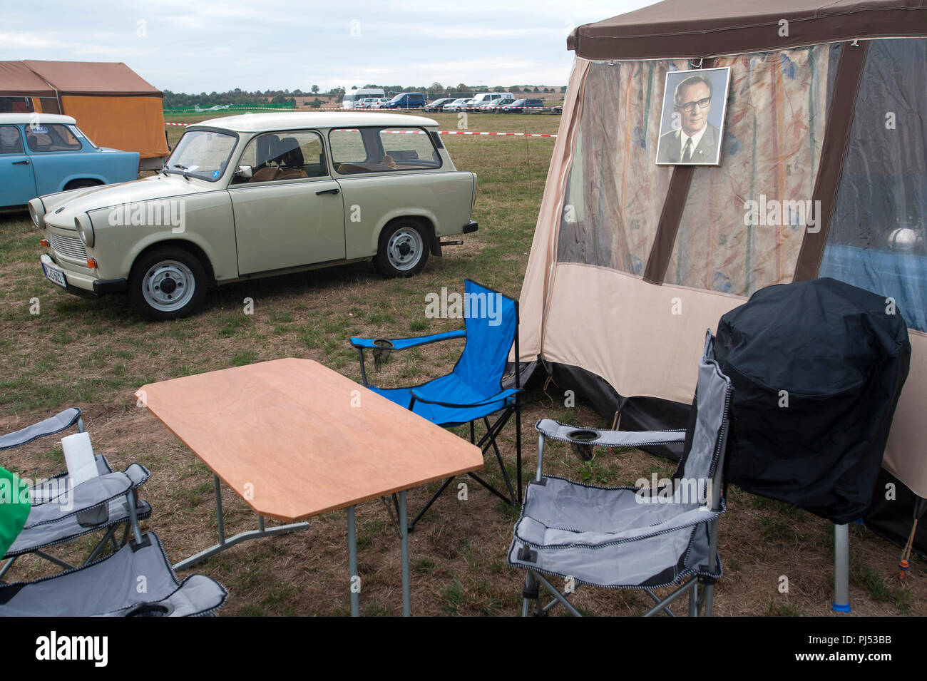 East German nostalgia for the DDR at a Trabant Rally in Zwickau, Saxony, Germany. - Stock Image