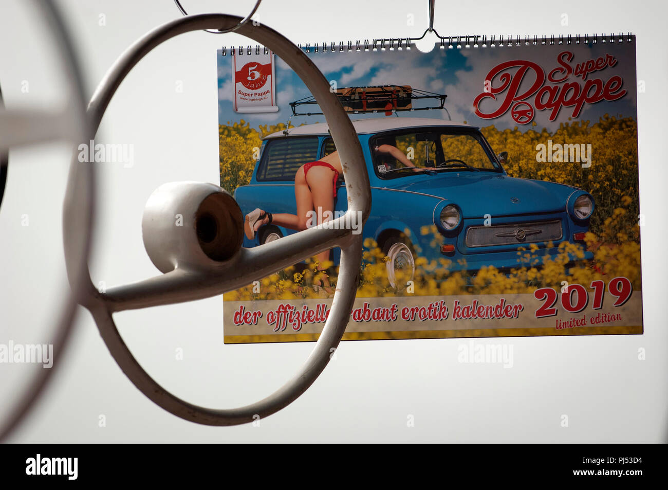 A Trabant Calendar for Sale at a Trabant Rally in Zwickau, Saxony, Germany Stock Photo
