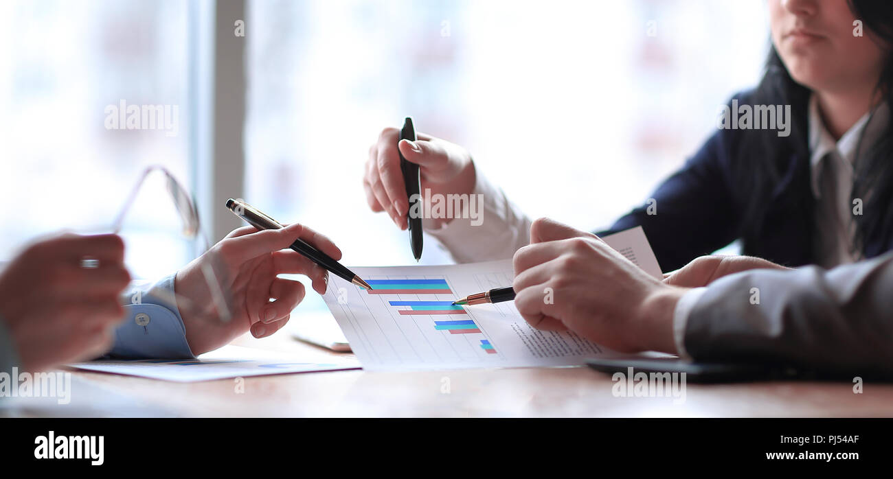 close up. the business team analyzes the financial data. Stock Photo