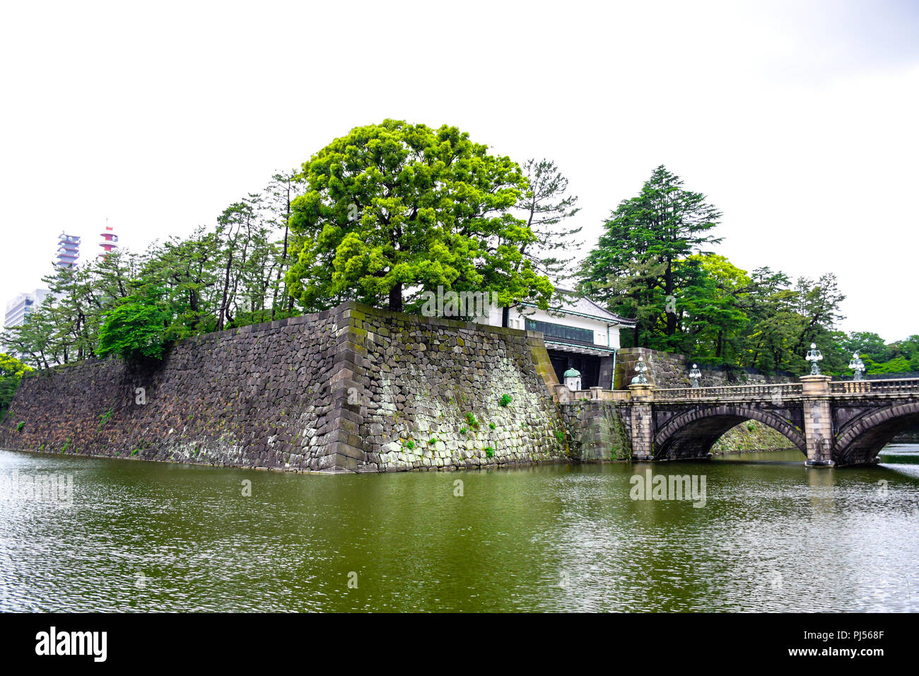Beautiful pond and garden around the Imperial Palace in Tokyo, Japan - Stock Image