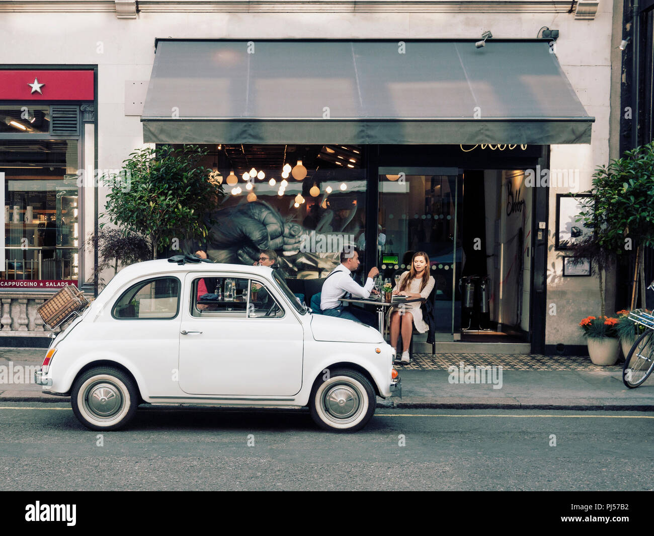 Classic Fiat 500 on London Street UK - Stock Image