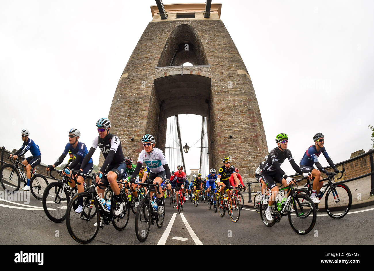 3aea441a5cbdb3 Riders in the OVO Energy Tour of Britain cross Clifton Suspension Bridge  over the Avon Gorge as they begin stage Three
