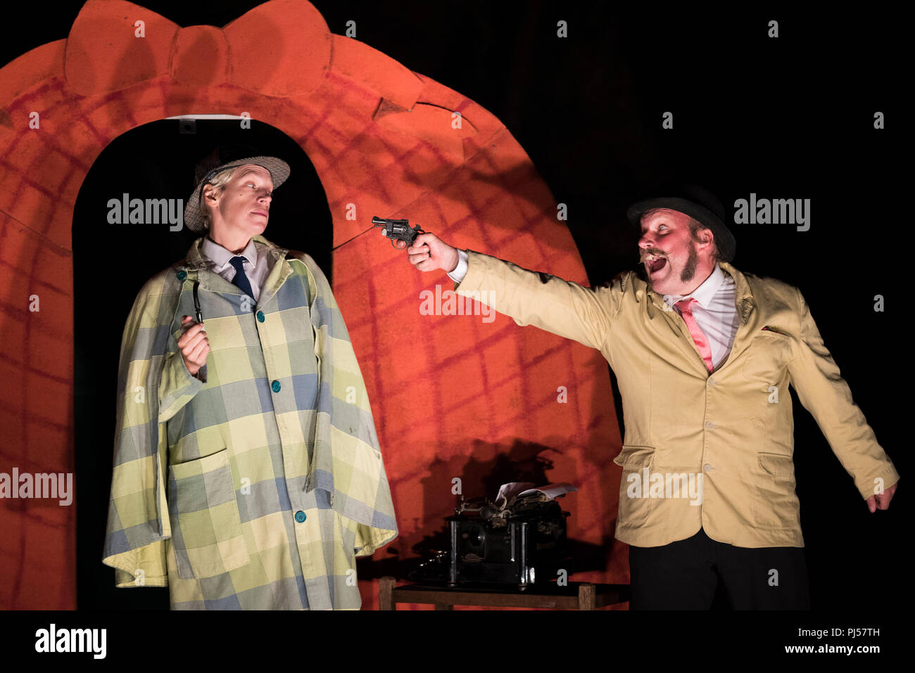 A performance of Hound of the Baskervilles by Illyria Theatre Company in Cornwall. - Stock Image