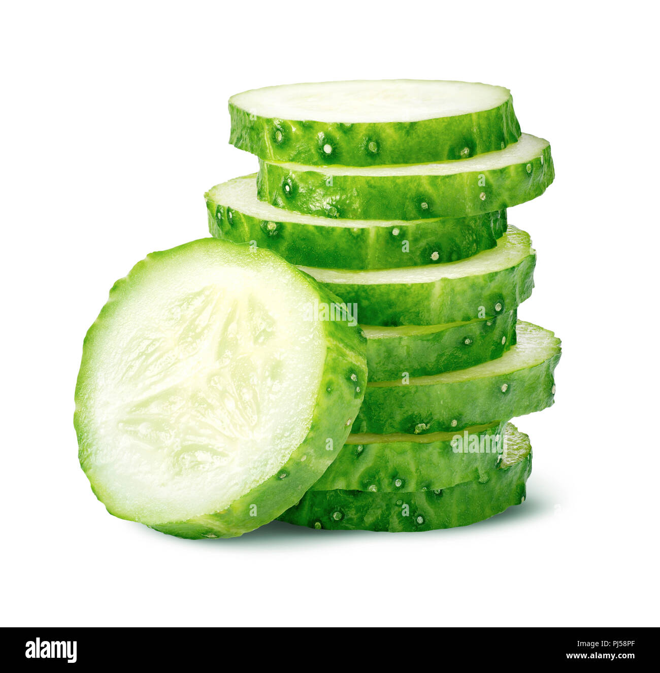 Pile of cucumber slices isolated on white background as package design element - Stock Image