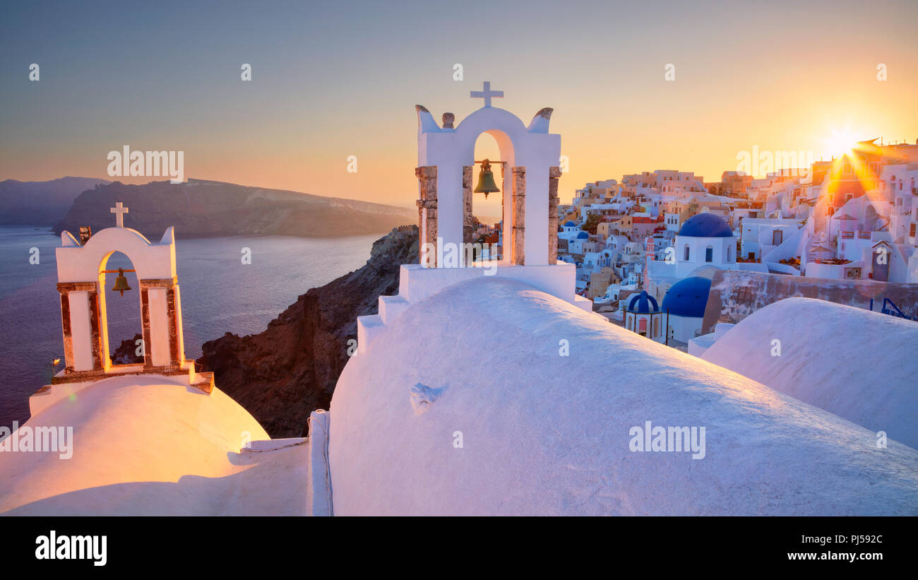 Oia, Santorini. Image of famous cyclades village Oia located at the island of Santorini, South Aegean, Greece. Stock Photo