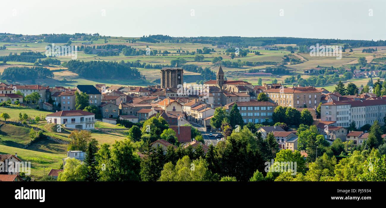 Village of Saugues on via Podiensis, camino de Santiago,  Haute Loire, Auvergne Rhone Alpes, France, Europe - Stock Image