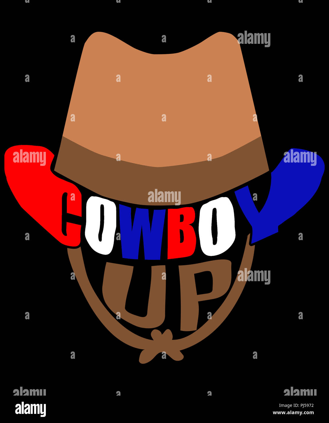 04beb7667bf Cowboy up illustration with a cowboy hat graphic on black background ...