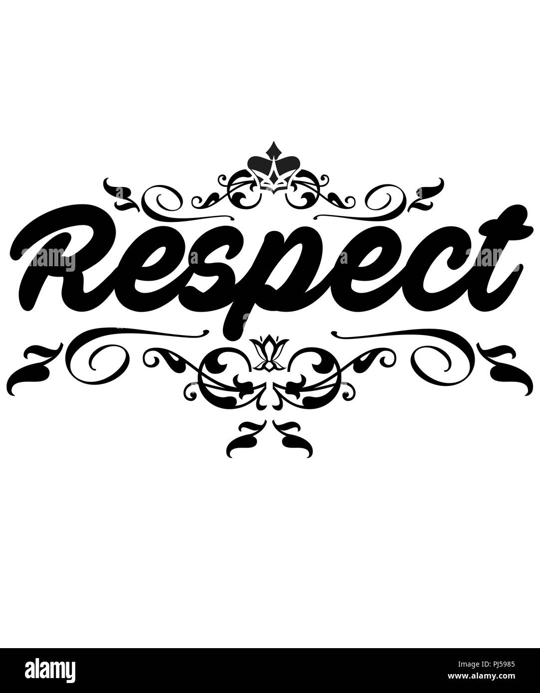 Respect graphic design illustration with design swirls on a white background.  Makes a great wall art too. - Stock Image