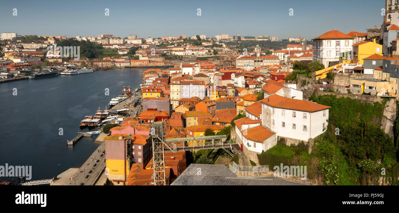Portugal, Porto, elevated panoramic view of Ribeira district World Heritage Site, from Luis I bridge - Stock Image
