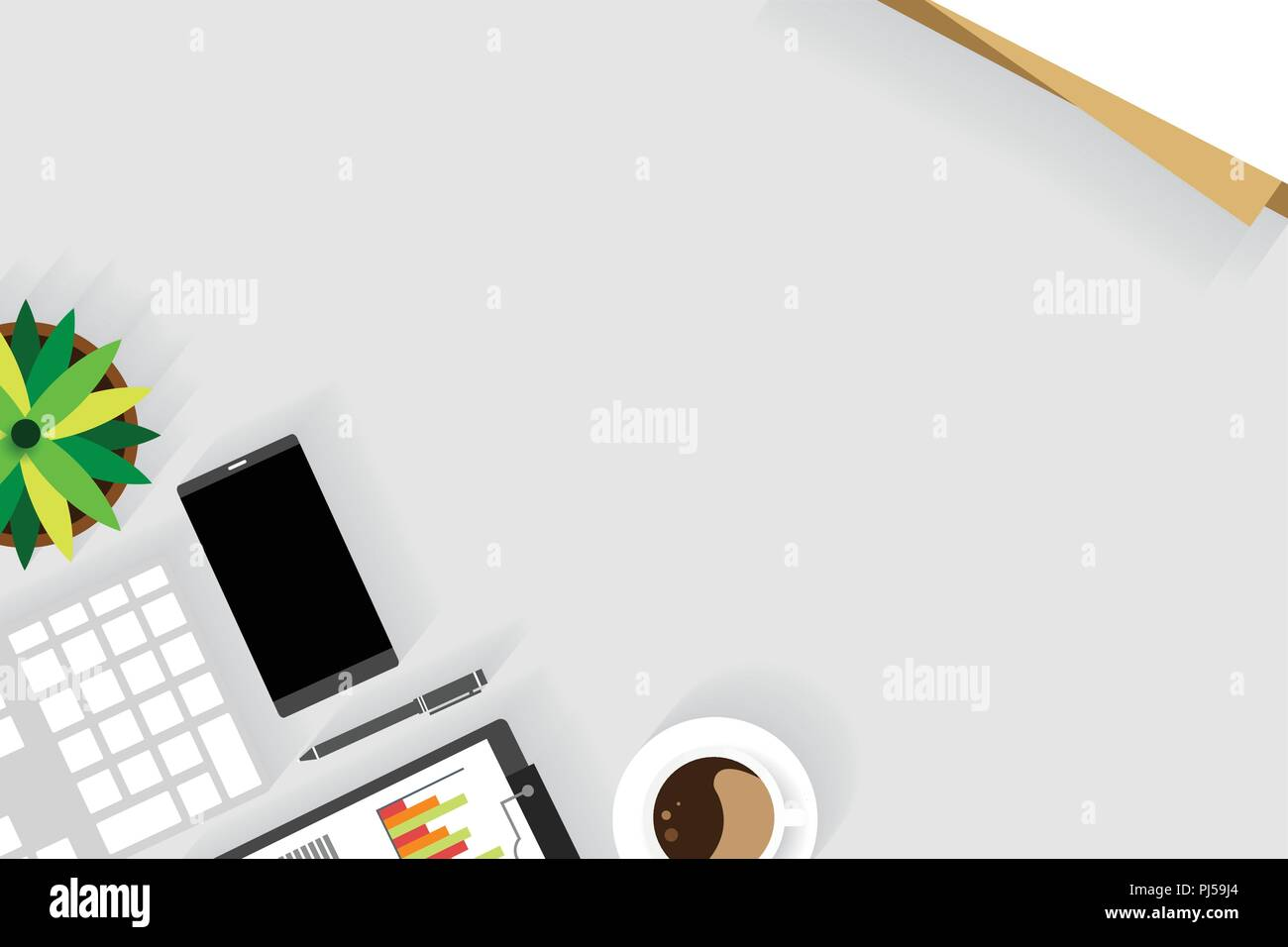 Top view of table working, working desk with gadget and free space for text and accessory on table, laptop, keyboard, book, note, coffee cup, gadget - Stock Vector